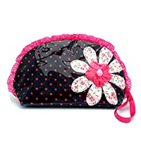 PINK FLOWER WITH NEVY BLUE POLKA DOT WASH BAG WITH DOUBLE ZIP PULLER