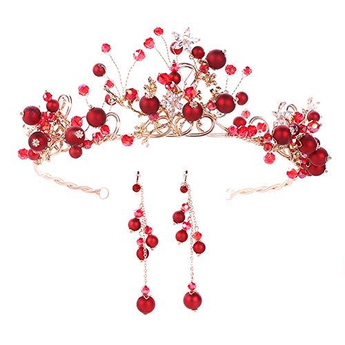 Cosanter Einer zum Verkauf Kopfschmuck Krone Stirnband Ohrringe Set Stirnband Stirnband Haarschmuck Mädchen Prinzessin Geschenk ()