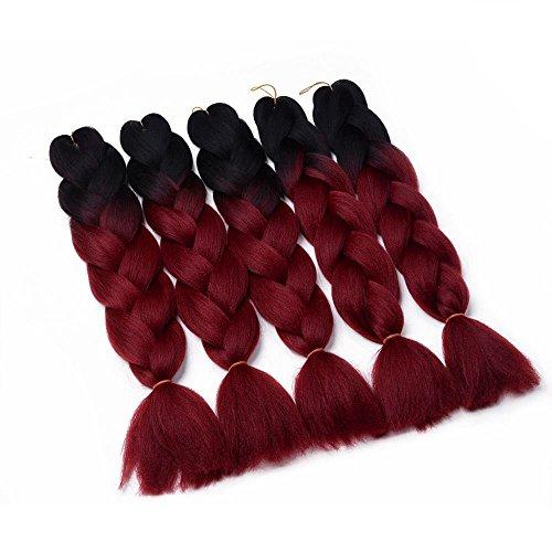 Juego 5 extensiones cabello kanekalon trenzadas Jumbo