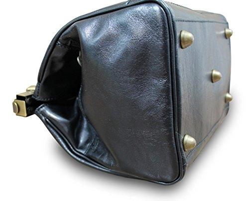 Made in Italy Arzttasche Doktortasche Hebammentasche Doc Bag Echt Nappaleder , Farbe:Braun Schwarz