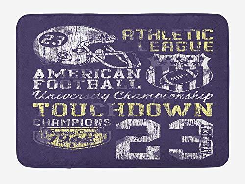 Sports Bath Mat, Retro Style American Football College Theme Illustration Athletic Championship Apparel, Plush Bathroom Decor Mat with Non Slip Backing, 23.6 W X 15.7 W Inches, Purple
