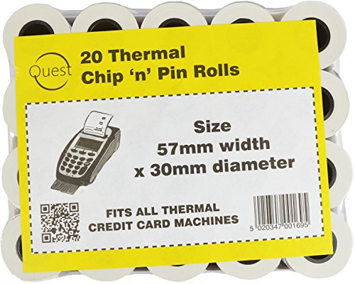Card Credit Machine Rolls (Quest 20 Thermo-Chip Pin 'n'Rollen, Größe: 57 x 30 mm Thermal Credit Card, für alle Maschinen)