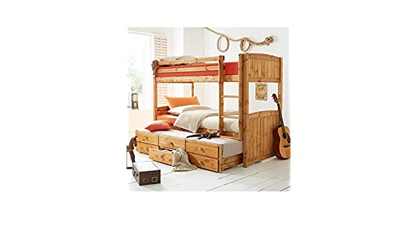 Kidspace Georgie Solid Pine Bunk Bed with Storage and Guest Bed,Pine ...