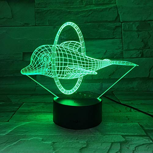 Circus Cute Dolphin 3D LED Lampenschirm Led Night Light 7 Colors Table Novelty Decor lights for Self gifting or Friends Kids (Circus Lampenschirm)
