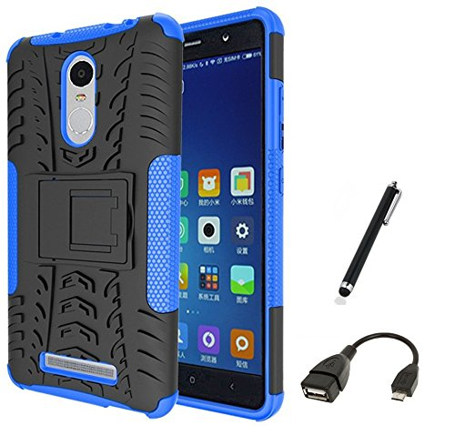 SDO Rugged Dual Layer Case Back Cover For Xiaomi Redmi Note 3 - Blue + Micro Usb Otg Cable + Pen Style Stylus Combo Set