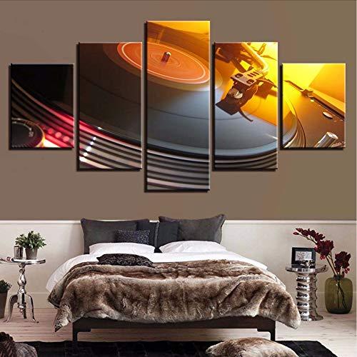 QThxqa Leinwand modulare Bilder Raumdekoration Rahmen 5 Stück Musik DJ Konsole Plattenspieler Malerei Bar Nachtclub Wandkunst Poster