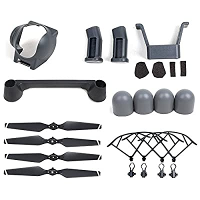 DJI Mavic Pro 6PCS Accessories Kit, Quick Release Propeller/Propeller Guards/Landing Gear Set/Lens Hood +Remote Controller Joystick Protector/Silicone Motor Protector Cap for Mavic Pro Drone