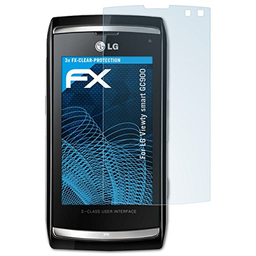 atFolix Schutzfolie kompatibel mit LG Viewty smart GC900 Folie, ultraklare FX Displayschutzfolie (3X) Viewty Smart Screen