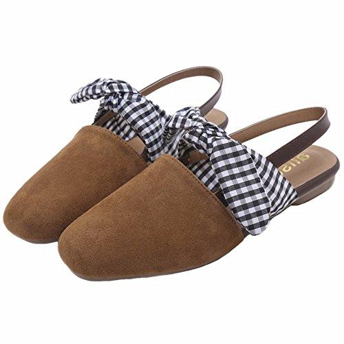 042587fe8cd2 SHISHANG Brown Baotou Sandals Female Summer Small Fresh Korean Bow Student Flat  Women s Shoes