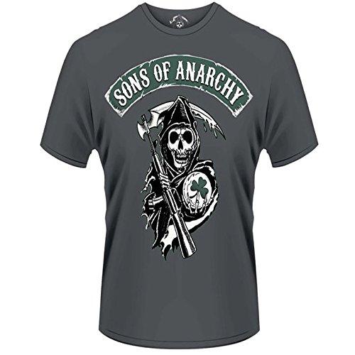 Herren Sons Of Anarchy, Reaper Kleeblatt Offiziell lizenziertes T-Shirt Grau - Grau