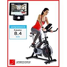 Sportstech Cycle intérieur SX200 professionnelle avec contrôle de l'application smartphone + Google Street View, volant 22KG, support de bras, compatible ceinture d'impulsion - Speedbike en qualité studio avec un système à faible bruit entraînement par courroie - vélo ergomètre jusqu'à 125 KG