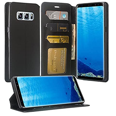 Wydan Samsung Galaxy Note 8 Case - Leather Wallet Style Case Folio Flip Foldable Kickstand Credit Card Cover - Black
