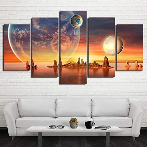 mmwin Wandkunst Leinwand HD Drucke Planeten Dekoration Landschaft 5 Stücke Wohnzimmer Modulare Bild Kreative Kunstwerk Poster
