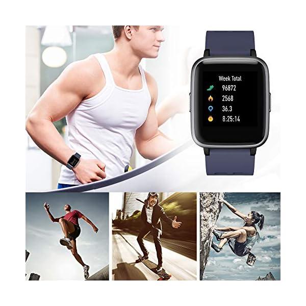 Smartwatch, 5ATM Impermeable Reloj Inteligente Hombre Mujer, Pulsera Actividad Inteligente Reloj Deportivo Reloj Fitness con Pantalla Táctil Completa Pulsómetro Cronómetros para iPhone iOS Android 8