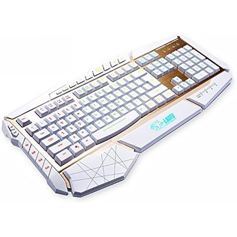 Qisan® Du Tastiera Retroilluminata 003 Programmabile Tastiera USB Cablata Mouse Di Gioco-Us Layout (Colore Bianco) Sono Dotate Di Connessione Micro Android Dati Del USB 2.0 OTG