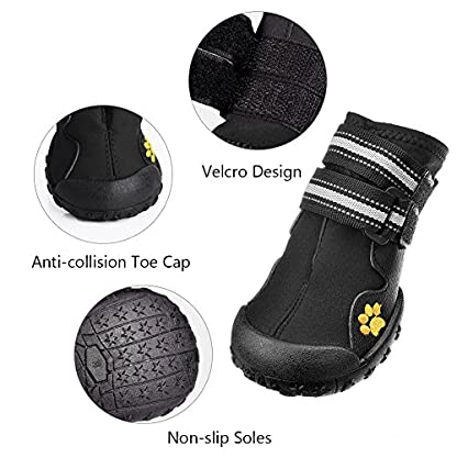 Royalcare Protective Dog Boots, Set of 4 Waterproof Dog Shoes with Wear-resistant and Rugged Anti-Slip Sole Suitable for… 4