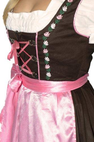 Mini Dirndl, nero/fucsia, 3pezzi, con grembiule + camicetta, taglia 38-58 Braun-Rosa