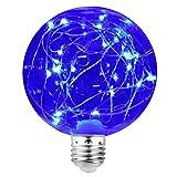 KZKR LED E27 Glühbirne Lichterkette Lampe Deko Glühlampe Blau 3W G100 Vintage LED String Glühbirne für Haus Cafe Bar Garten Laden Hochzeit Weihnachten Beleuchtung