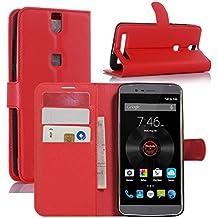 Funda Elephone P8000, HualuBro [Protección Todo Alrededor] Premium PU Cuero Leather Billetera Wallet Carcasa Case Flip Cover para Elephone P8000 Smartphone (Rojo)