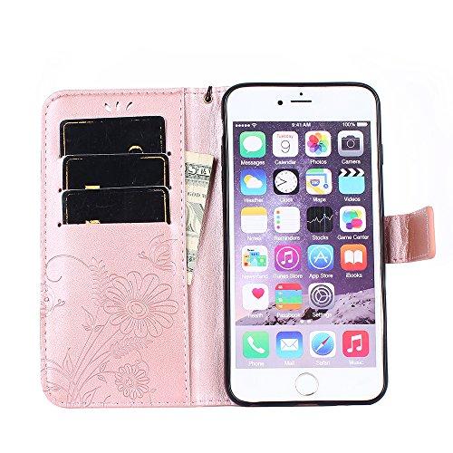 Custodia per iPhone 6 6S Plus Cover Pelle,SKYXD Colorata Fiore Formica Disegni 3D Morbida Flip Libro PU Pelle Portafoglio Custodia Case per iPhone 6S/6 Plus Guscio Protettivo Coperture Antiurto 360 Pr Oro Rosa