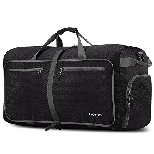 Gonex 100L Foldable Travel Duffel Bag for Luggage Gym Sports, Lightweight Travel Bag with Big Capacity, Water Resistant (Black)