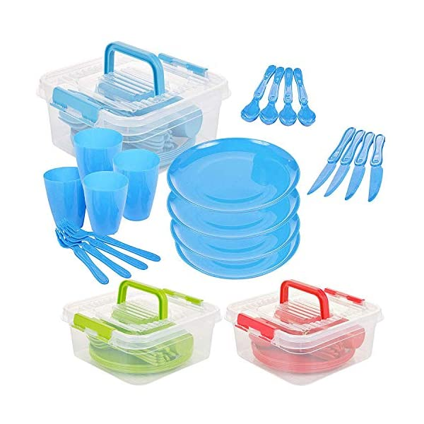 21 Piece Plastic Picnic Camping Party Dinner Plate Mug Cutlery Set Storage Box 1