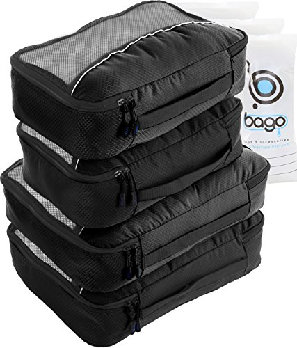 Packing Cubes 4pcs Value Set for Travel – Plus 6pcs Luggage Organiser Zip Bags (Black)