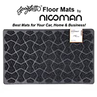 Nicoman Bow-Tie Shape Door Mat-(Use Indoor or Sheltered Outdoor), Dirt-Trapper Jet-Washable Spaghetti Doormat, Black, 75x44cm