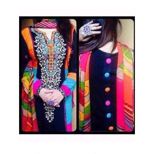 Sanjana Collection Women\'s Georgette Salwar Suit Dress Material (SD9406_Multi Color)