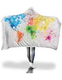 FimGGe Mapa del Mundo Manta con Capucha, Impresa y Vestida para Adultos Capa Sofá TV