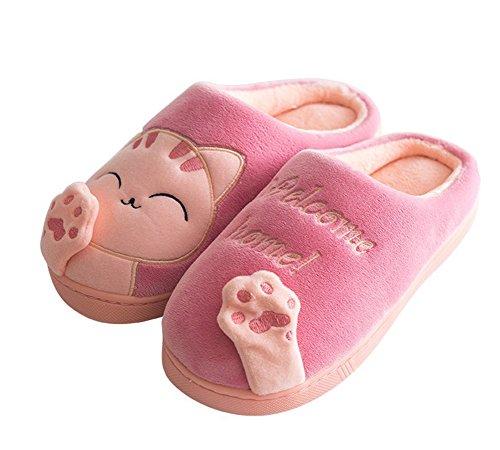 Minetom Herren Damen Winter Baumwolle Pantoffeln Dickere Wärme Weiche Hausschuhe Kuschelige Katze Home Rutschfeste Slippers D Rosa EU 39 40