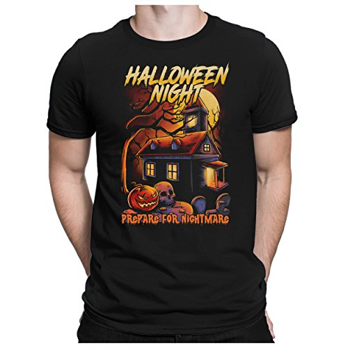 PAPAYANA - Halloween-Night-House - Herren Fun T-Shirt - Horror Es Pumpkin Scream Kostüm Kürbis - 3XL Schwarz