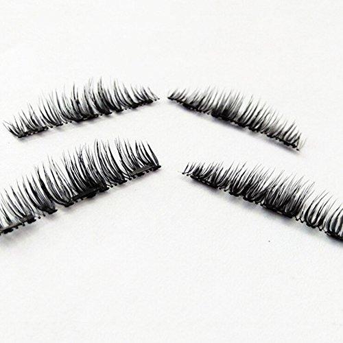 J.Causd Magnetische Wimpern, Wiederverwendbare Natural Dual Neu Magnetische Falsche Wimpern, Fashion Wimpernverlängerung für Make-up 1 Paare / 4 PCs (3DWimpern)