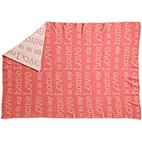 –Manta–Colcha de retazos de lana de cordero–Love Is My Home–170x 130cm–Rosa/Beige