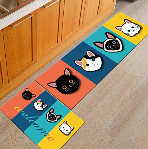 Juzhijia doormats cucina antiscivolo tappeti tavolino tappetini morbidi al posto letto camera da letto stuoie corridoio al ingresso rug,quattro gatti,40x60cm e 40x120cm