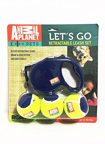 Animal Planet Let 's Go Zehn Fuß einziehbar Hund Leine Set mit Tennisbälle. Für Hunde bis 6618kg Perfekt für Komfort Disciplining und Training. -