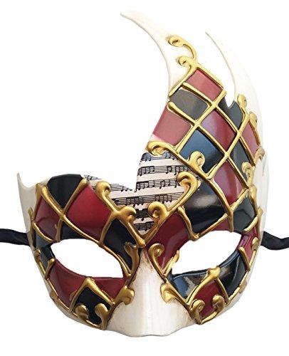Coolwife Herren Maskerade Maske Vintage venezianischen Checkered Musical Party Mardi Gras Maske (Burgund / Schwarz)