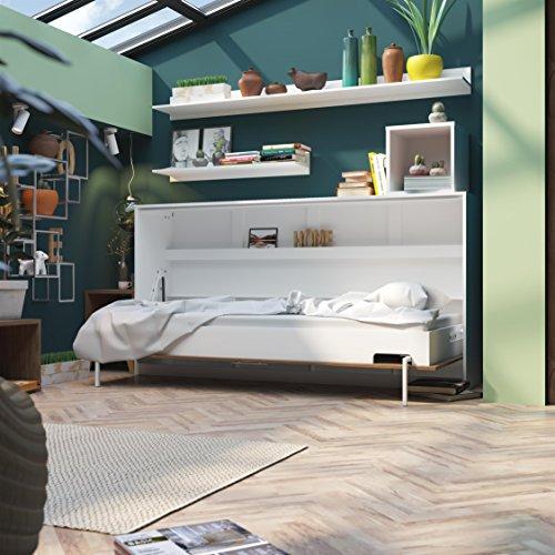 SMARTBett Basic 90×200 Horizontal Weiss/Nussbaum Schrankbett | ausklappbares Wandbett, ideal geeignet als Wandklappbett fürs Gästezimmer, Büro, Wohnzimmer, Schlafzimmer - 8