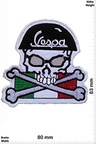 Patches - Vespa - Skull - Motorbike - Motorsport - Motorcycles - Biker - Iron on Patch - Applique embroidery Écusson brodé Costume Cadeau- Give Away