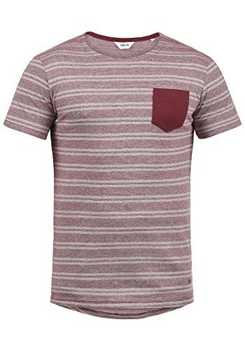 !Solid Fidel Herren T-Shirt Kurzarm Shirt Mit Streifen Und Rundhalsausschnitt 100% Baumwolle, Größe:XL, Farbe:Wine Red (0985) - Button-down Polo Shirt Gestreift
