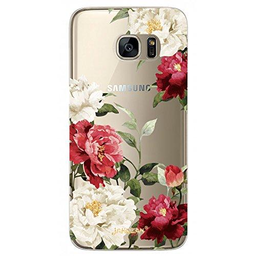 JIAXIUFEN Galaxy S7 Hülle, TPU Silikon Schutz Handy Hülle Handytasche HandyHülle Etui Schale Schutzhülle Case Cover für Samsung Galaxy S7 - Red White Flower