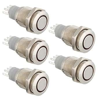 5pcs Bouton Poussoir Interrupteur Etanche LED Lumière Rouge 16mm 12V