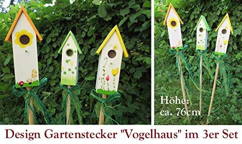 10er Set Gartenstecker Vogelhaus Deko Gartenstab Rankhilfe Gartenspieß Holz NEU - 2