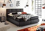lifestyle4living Boxspringbett 180x200, grau, Stoff Entspannter schlafen auf dem modernen Doppelbett komplett mit Bettkasten, Topper und Kopfteil