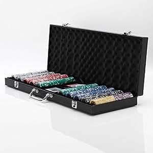 Écureuil Poker 14g Squirrel Poker Malette de poker Design Monte Carlo HV Inc, petit bouton dealer & Big Store, 2jeux de cartes, 5dés en bois en Noir en Imitation Cuir avec puce Plateaux