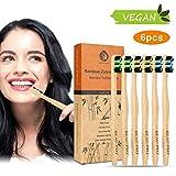 Cepillo Dientes Bambu, Paquete de 6 Cepillos de Dientes de Bambú, 100% Libre de BPA, Cepillos de Dientes Naturales y Veganos, Sostenibles, Biodegradables, Cepillos de Bambú para Una Mejor Limpieza