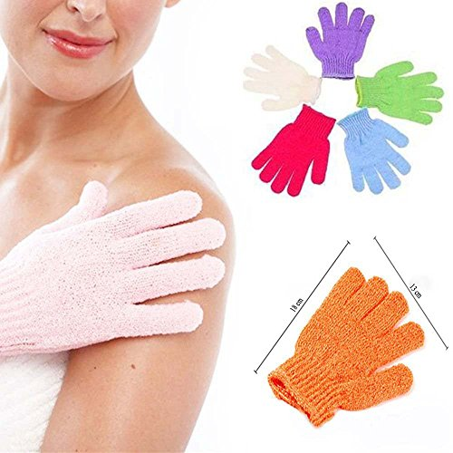 Pindia Set Of 2 Pair Bath Gloves Spa Massage Body Scrubber Cleaner