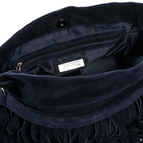 ca4bb11012a06 ... BACCINI® Beuteltasche SAMIRA - Damen Schultertasche groß Ledertasche -  Hobo Bag mit Fransen Damentasche echt ...