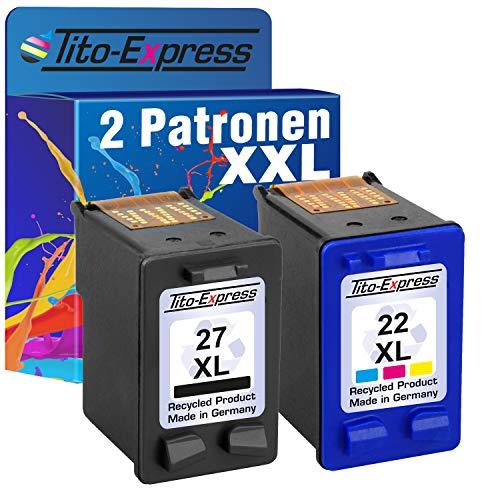 PlatinumSerie 2 Druckerpatronen für HP-27XL & HP-22XL | 1x Black 20ml, 1x Color 21ml XXL-Inhalt