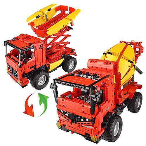CaDA RC 2in1 LKW Betonmischer / Hebebühnen-LKW, Technik Baukasten, 814 Teile, 100% kompatibel mit Lego Technic